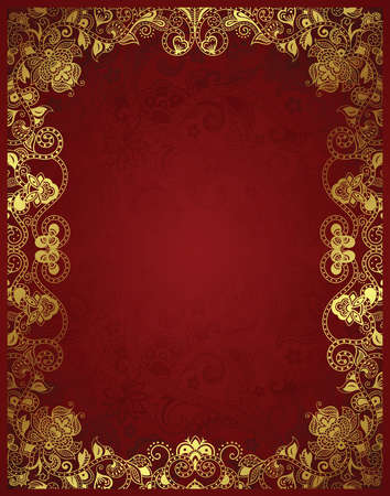 red abstract: Abstract Floral Frame Background Illustration