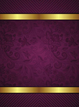 Abstract Gold and Floral Frame Background