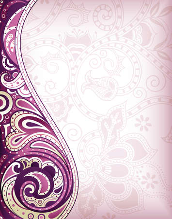 Abstract Purple Curve Floral Background Çizim