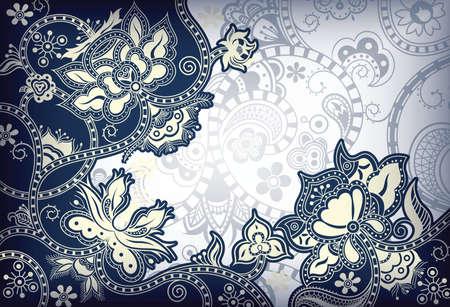 azul marino: Fondo Floral abstracto Vectores