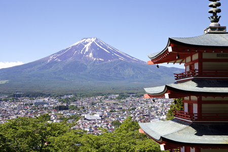 Mt. Fuji viewed from Sengen at the shrine in Japan