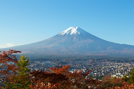 View of autumn leaves and Mt. Fuji. Stock fotó