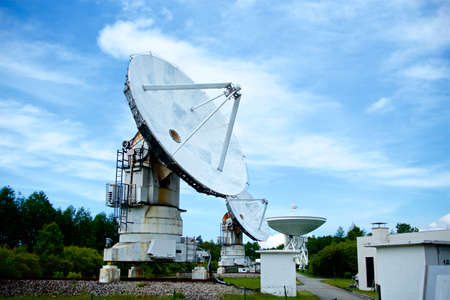 Parabolic antenna of the radio observatory. Parabona antenna to receive radio waves in space.