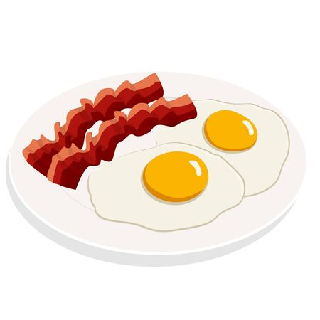 Fried eggs with bacon breakfast on white plate. Flat vector illustration 向量圖像