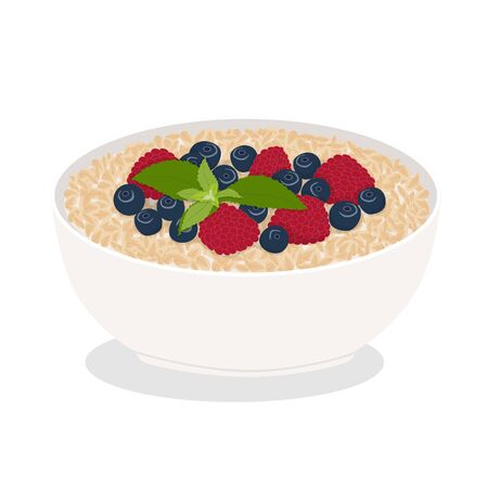 Bowl of oatmeal isolated on white background. Flat vector illustration of a healthy food. Cereal natural breakfast.