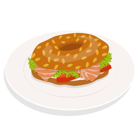 Bagel sandwich on plate with cream cheese, salmon, salad. Delicious breakfast. Take away fast food. Vector illustration Stock Illustratie