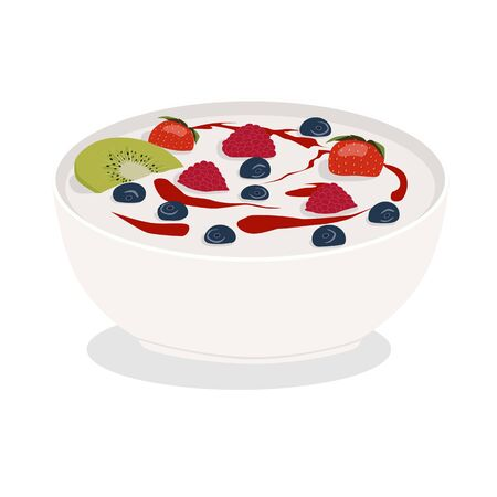 Ceramic bowl of white yogurt with berries, kiwi and jam isolated on white background