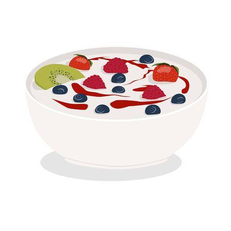 Keramische kom witte yoghurt met bessen, kiwi en jam geïsoleerd op een witte achtergrond