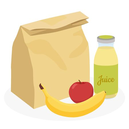 Lunchbox with healthy food. Concept of a healthy lifestyle, losing weight. Flat vector illustration isolated on white