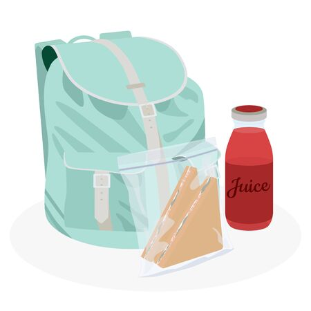 School backpack lunchbox set. Tomato juice and sandwiches in zip-pack. Healthy food lunchtime. Flat vector illustration