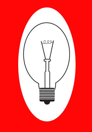 lightbulb on a red background Vector