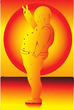 man looking at sky: The illustration - gold man