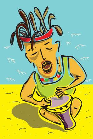 rastafari: The vector illustration - musician
