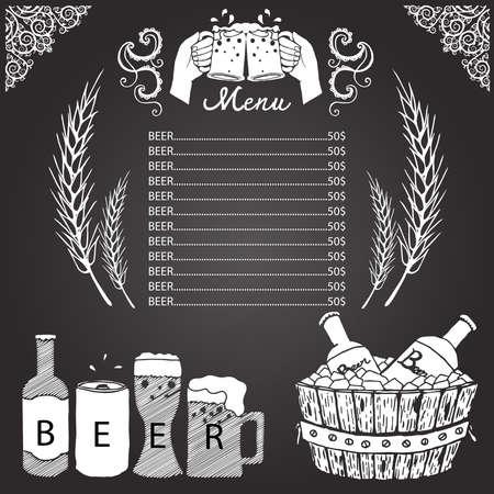 wine barrel: Beer menu on chalkboard Illustration