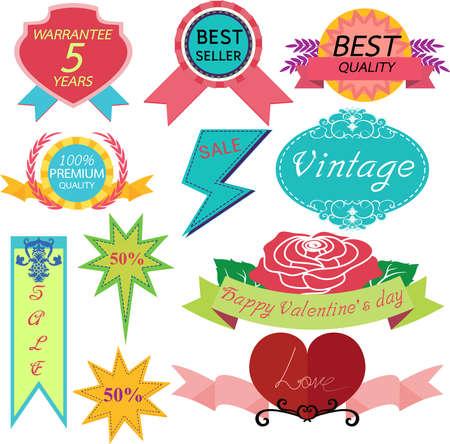 assured: Conjunto de insignias, etiquetas y cintas. Vectores