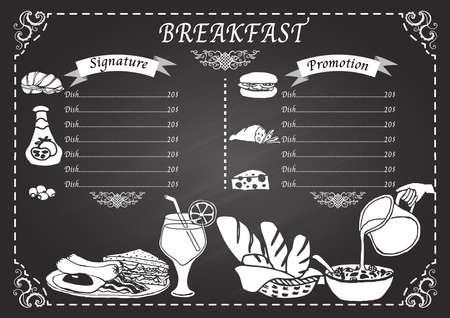 Menú de desayuno en la plantilla de diseño pizarra Foto de archivo - 35620727