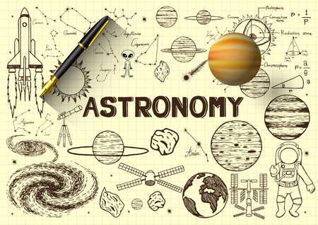 astronaut: Dibujado a mano la astronom�a en el papel con la pluma 3d y planeta