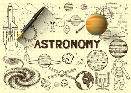 Hand drawn astronomy on paper with 3d fountain pen and planet Vector