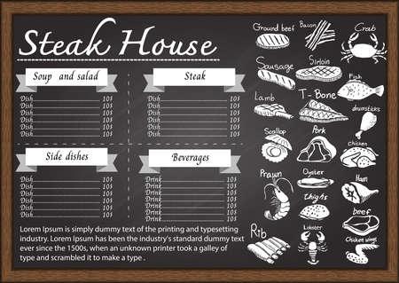Steak house menu on chalkboard design template.