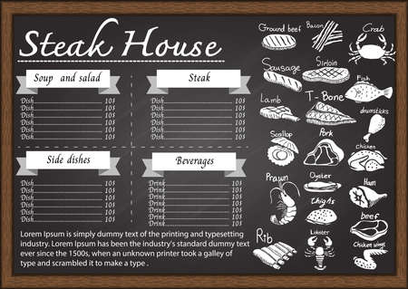 pork meat: Steak house menu on chalkboard design template.