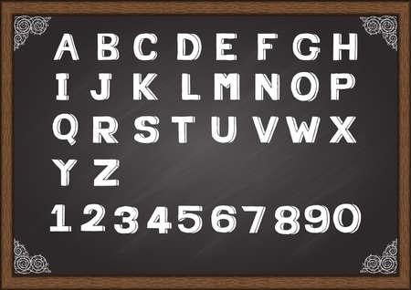 Hand drawn font on chalkboard Vector