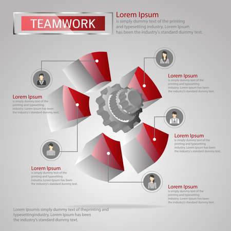 Three dimensions info graphic for teamwork concept. Teamwork idea. Vector