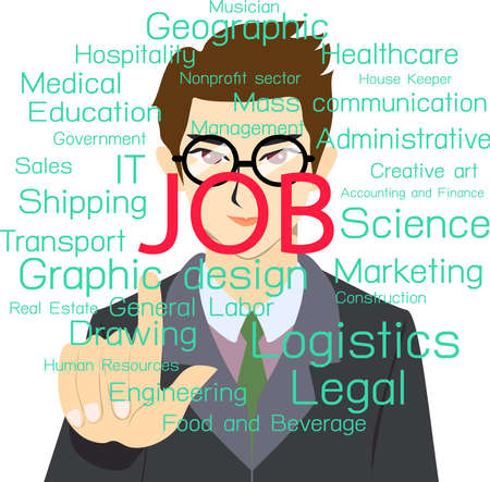 choosing: Job hunting. Man choosing or finding job.