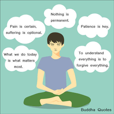 Young man meditating in peace for any spiritual and inner peace with bubble speeches of Buddha quotesvector illustration.
