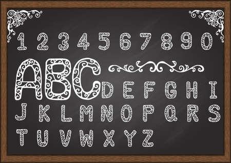 ornamental scroll: Hand drawn ornate font on chalkboard with ornamental scroll frame.