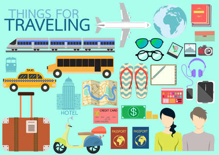 travel map: Things for traveling for holidays. Illustration