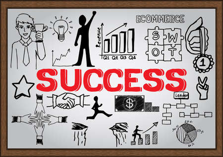 Success concept on whiteboard. Vector