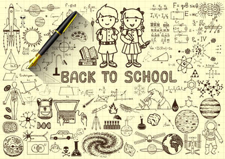 Education doodlesback to school concept on paper with 3d fountain pen.