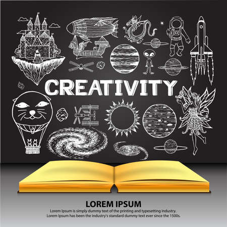 fantasy book: Creativity doodles on opened book with chalkboard background.