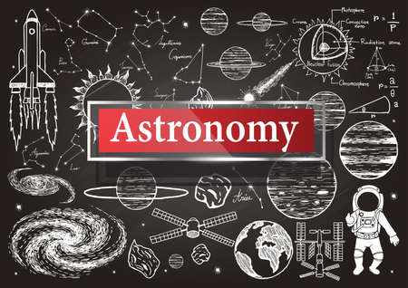 Doodles about astronomy on chalkboard with transparent frame with the word Astronomy.
