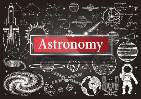 Doodles over sterrenkunde op bord met transparante frame met het woord Sterrenkunde.