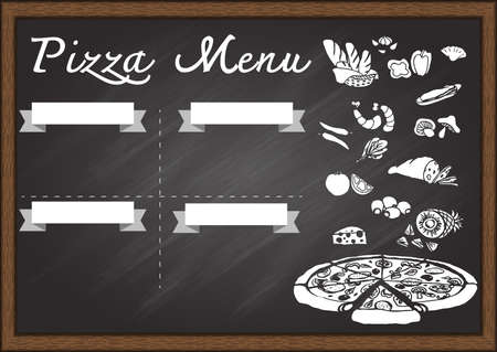 Hand drawn pizza menu on chalkboard design template. Ready to use. Vector