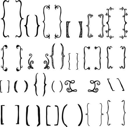 24 different hand drawn brackets. Bracket icons set.