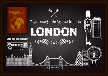 London doodles on chalkboard with 3D passport.