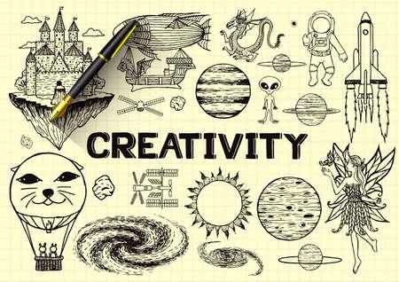 Dessiné à la main sur la créativité sur le papier jaune avec stylo plume 3d. Banque d'images - 41299637