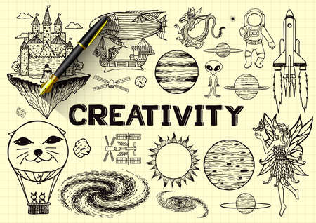 Hand drawn about creativity on yellow paper with 3d fountain pen. Vector