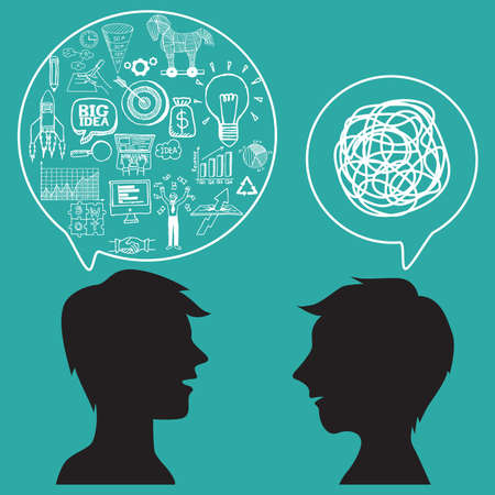 two men talking: Communication concept with business doodles in speech bubble.
