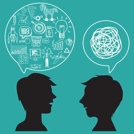 dos personas hablando: Concepto de comunicaci�n con garabatos de negocios en el bocadillo. Vectores