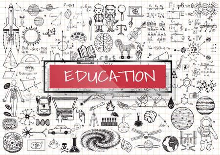 onderwijs: Educatieve doodles met 3d rood transparant frame met het woord onderwijs.