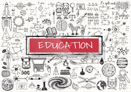 Educational doodles with 3d red transparent frame with the word EDUCATION. Illustration