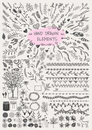 Gran conjunto de dibujado flechas floral marcos ornamentales frontera mano Soportes tarros de albañil cuernos y etc. para la decoración. Elementos de la vendimia. Foto de archivo - 41299643