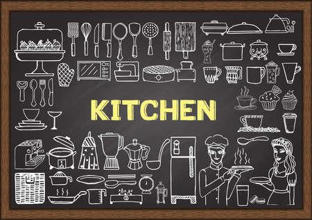 kitchen knife: Dibujado a mano el equipo de cocina en la pizarra. Doodles o elementos para el diseño de restaurantes.