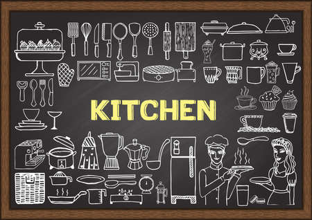 kitchen utensil: Hand drawn kitchen equipment on chalkboard. Doodles or elements for restaurant design.
