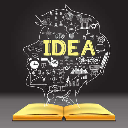 bussines: Business doodles in human head shape on opened notebook with the big letters IDEA with dark background.