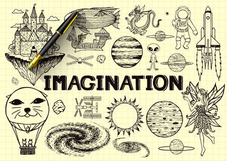 Hand drawn about imagination on yellow paper with 3d fountain pen. Vector