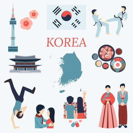 korea: All about Korea. Flat design elements. KPOP Korean seriesflag nation flowertaekwondomaptourist attractions and etc.